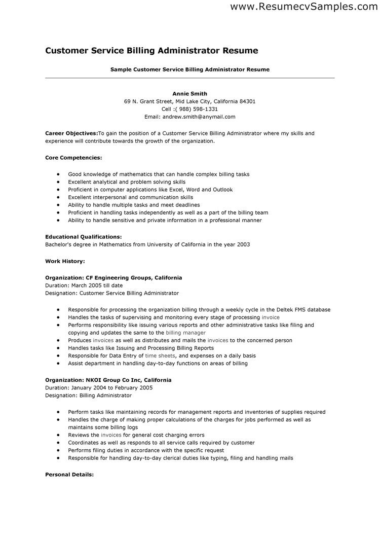 Customer Service Rep Resume Objective