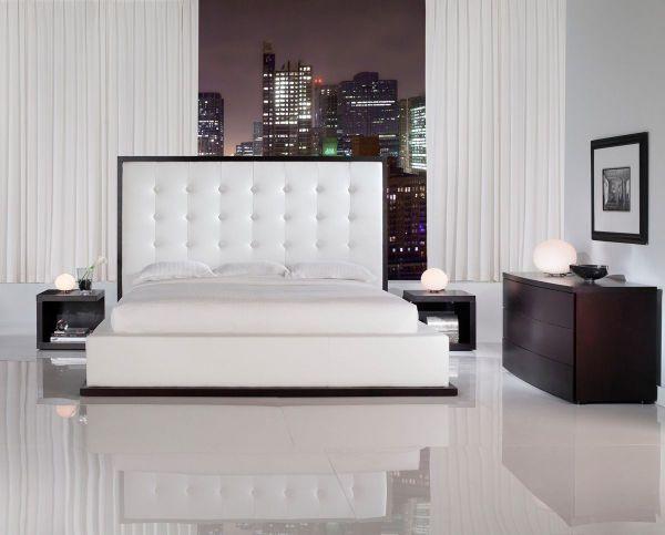 White Leather Bedroom Furniture Sets