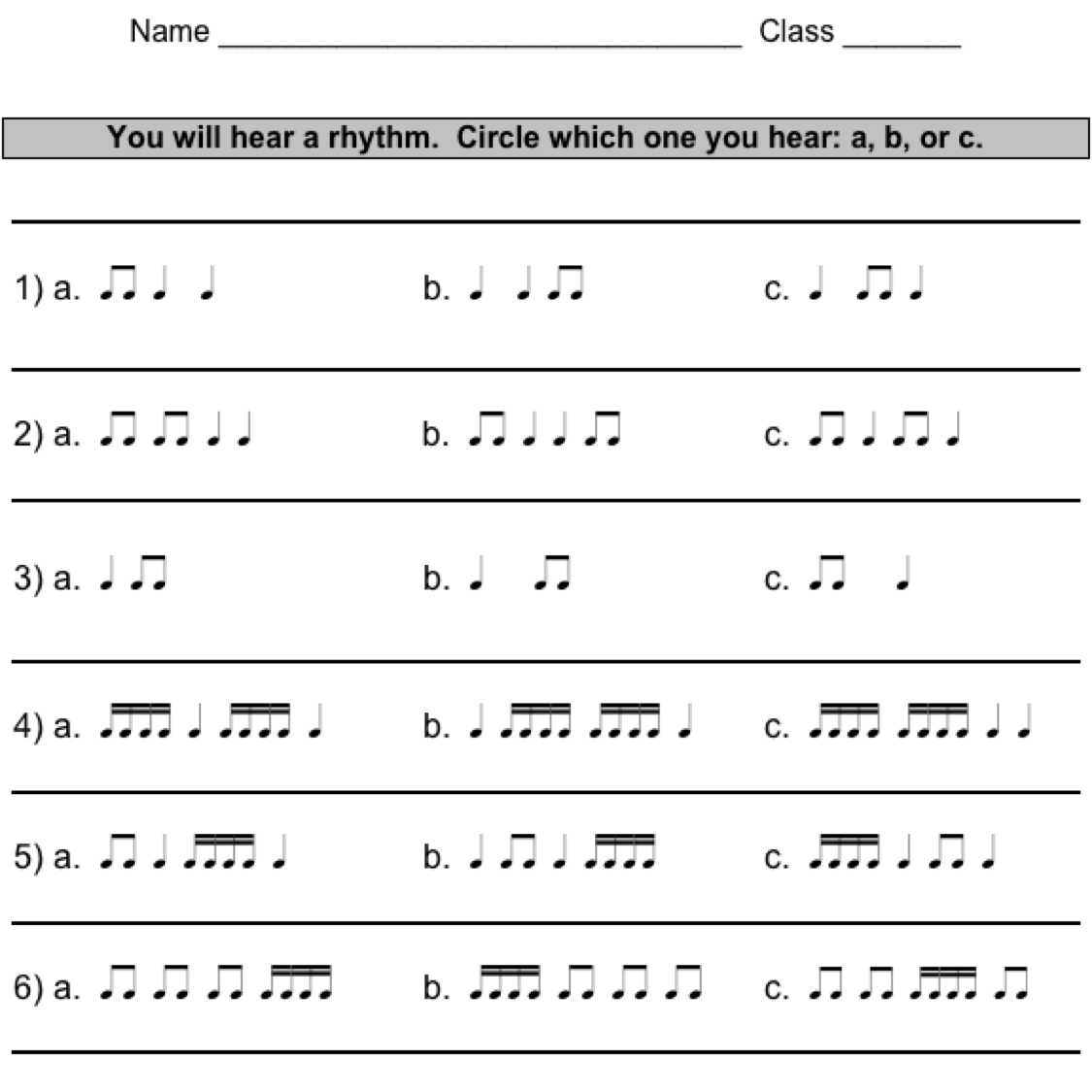 Rhythm Practice Students Write 3 Or 4 In Each