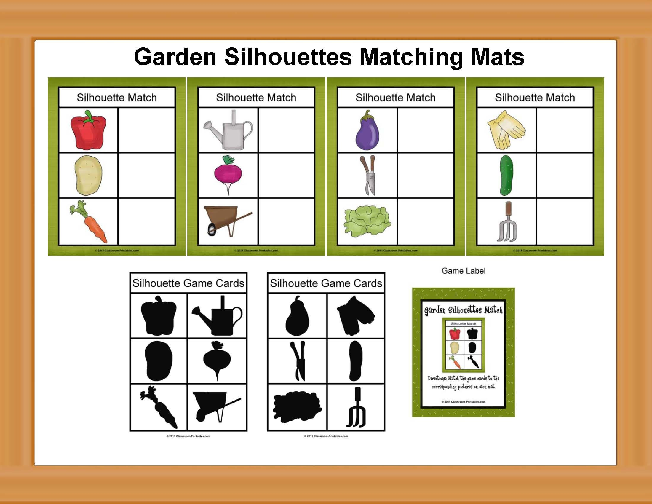 Garden Silhouettes Matching Game