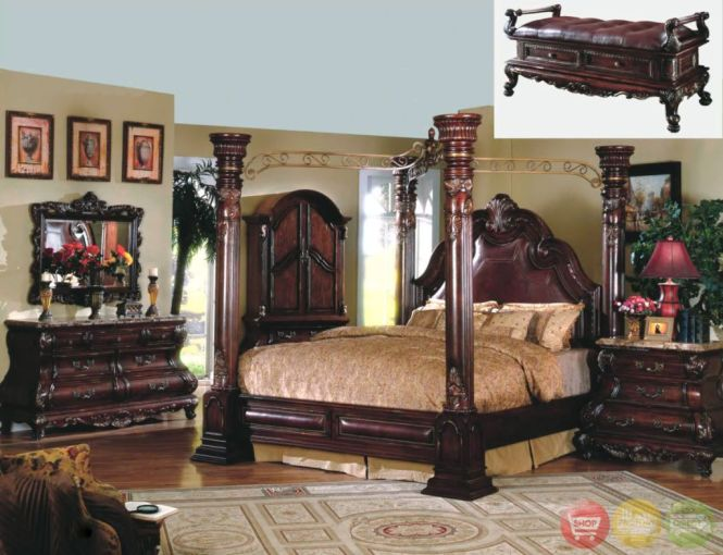 King Cherry Poster Canopy Bed W Leather 5 Piece Bedroom Set Marble Tops