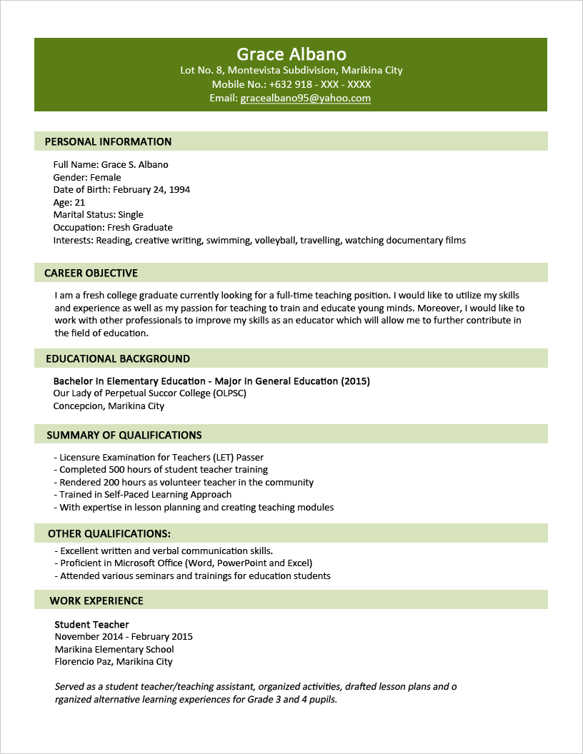 resume format with example - Resume Format Examples For Students