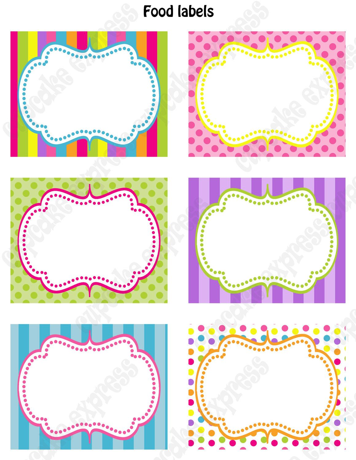 Diy Candy Shoppe Birthday Party Printable Food Labels Pink