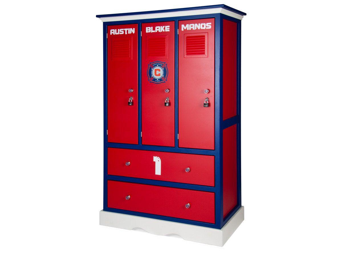 Childerns Locker Style Dresser Sports Themed Furniture Soccer Football Baseball Basketball