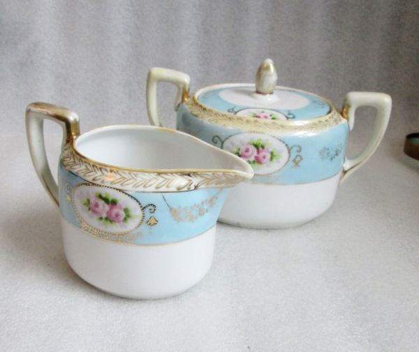 Noritake Nippon Hand Painted Creamer & Sugar Bowl Morimura Bros Mark #47 Green Bowls China