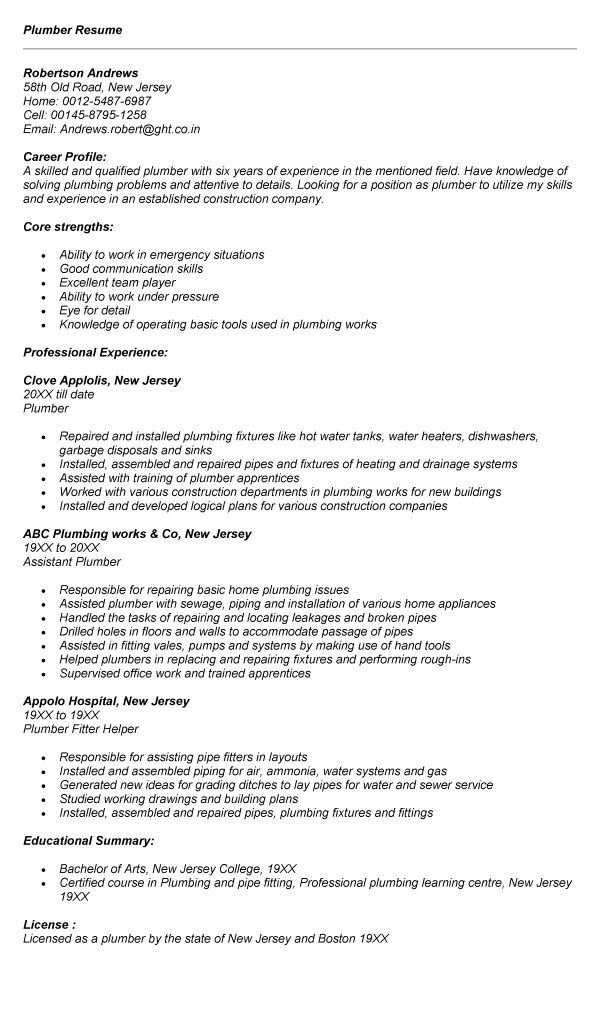 Plumber Resume Sample Plumbers Jobs Cover Letter For Plumber Job