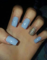 Short, blue, square, acrylic, nails | My Nails | Pinterest ...