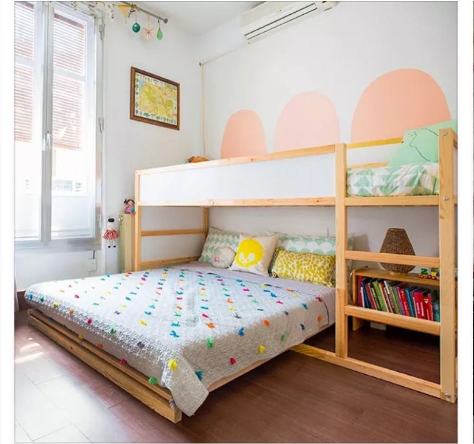 Ikea Kura bed with full bed under  Girls shared room  Pinterest  Ikea kura bed Kura bed and