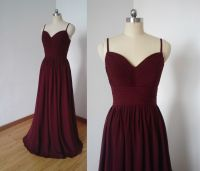 Spaghetti Straps Burgundy Chiffon Long Bridesmaid Dress