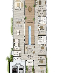 Contemporary home designs modern narrow block house floor plan four bedrooms simple design also rh pinterest