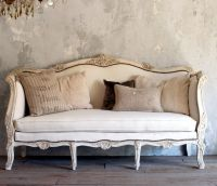 Vintage Shabby French Style Louis XV Daybed Sofa Cream
