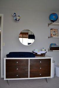 Noah's navy blue and white nursery | Boys, Round mirrors ...