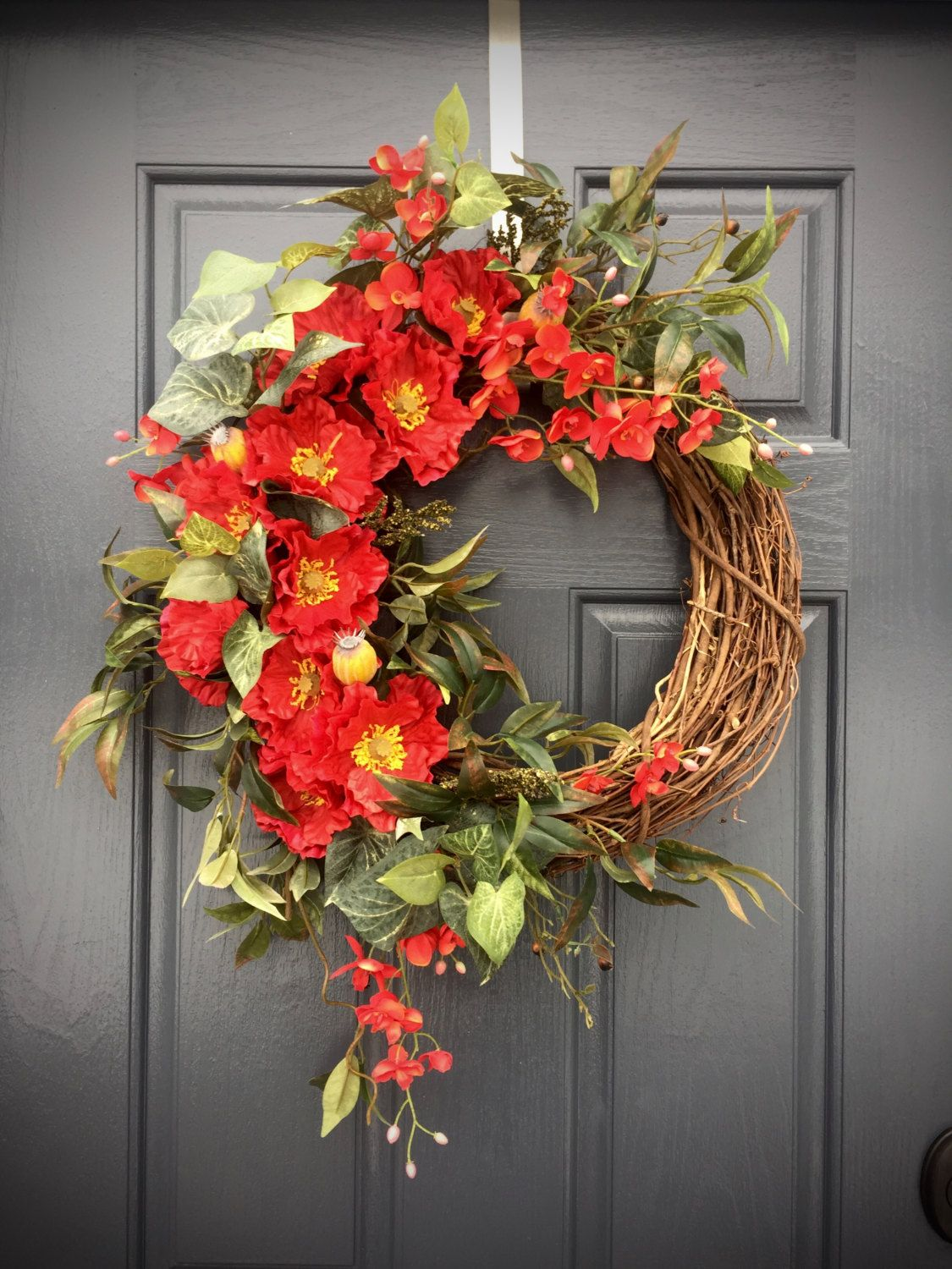 Red Spring Wreath, Red Decor, Red Door Wreaths, Spring
