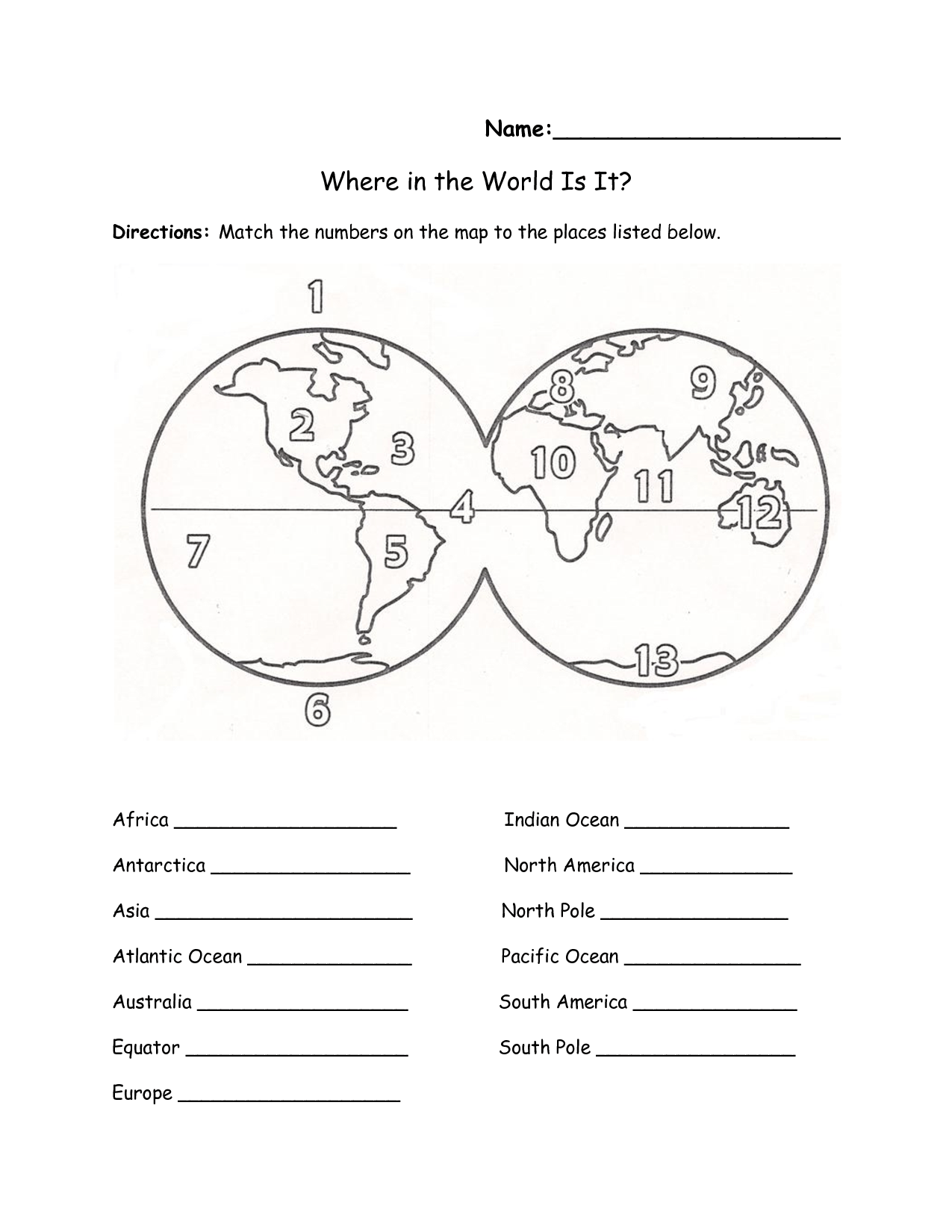Label Continents Oceans Worksheet Continents And Oceans