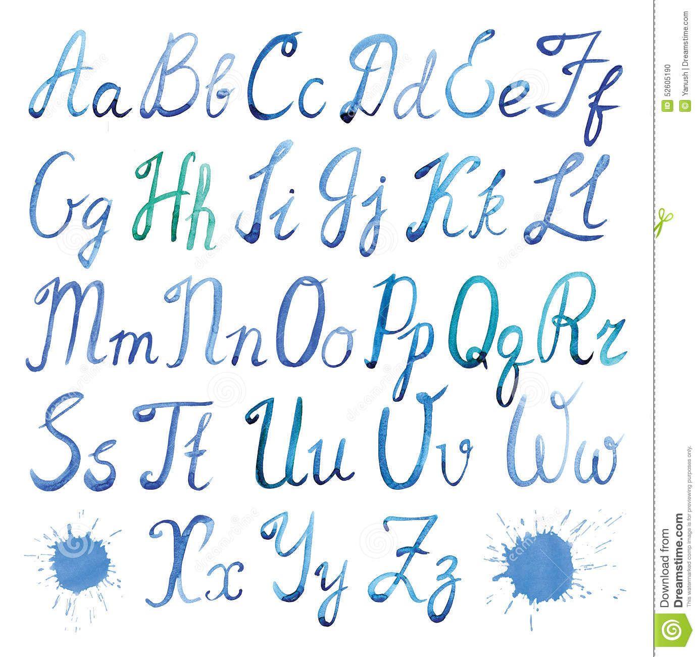 Latin Alphabet Watercolor Stock Illustration