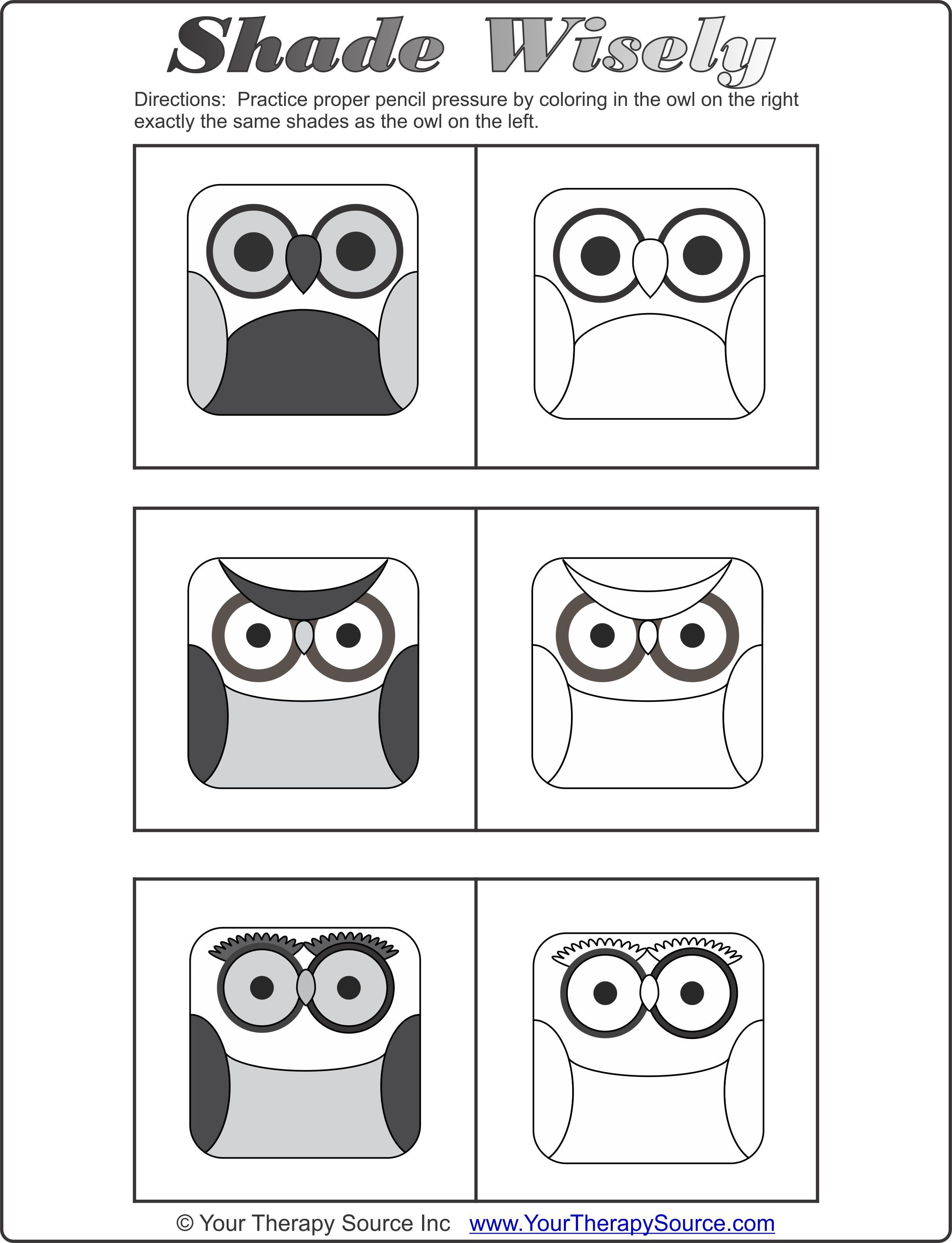 Students Can Practice Pressing Light Versus Hard To Shade The Owl Pictures You Can Download It