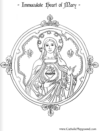 Immaculate Heart of Mary coloring page (Catholic