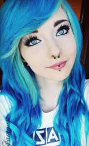 cute curly blue and turquoise dyed
