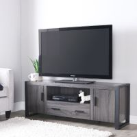 Charcoal Grey TV Stand Wood Entertainment Center Media
