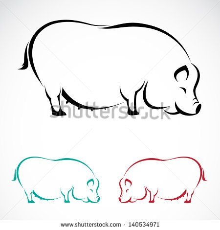 Outline pictures of pigs Free vector for free download