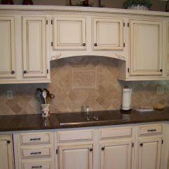 Glazed Kitchen Cabinets Easy To Do Backsplash Cream With Dark Brown Glaze Diy Refinish