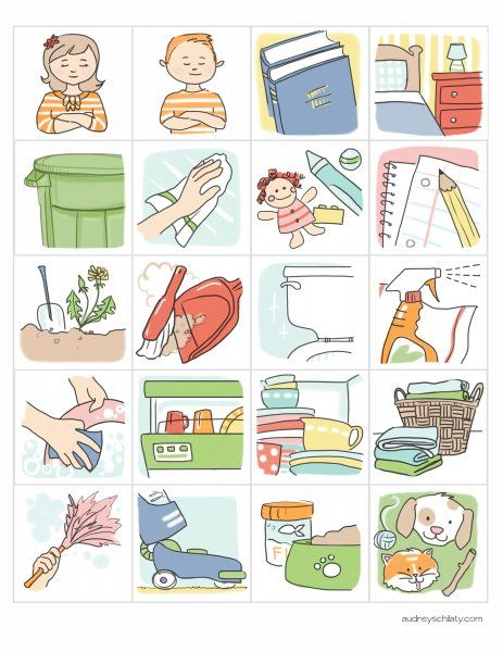cute little illustrated chore charts