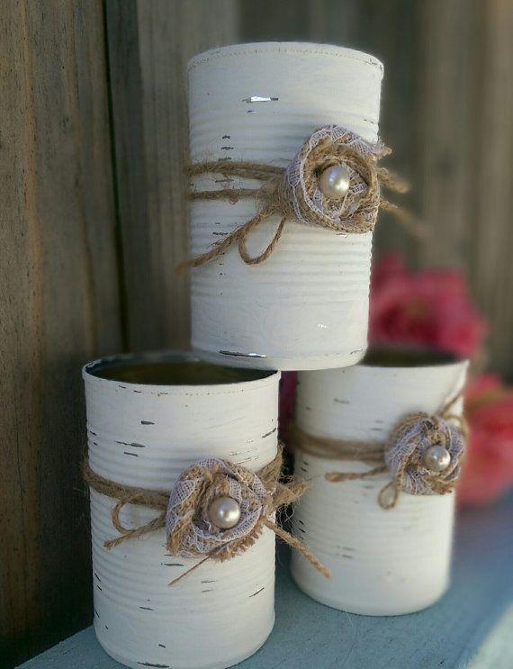 3 Shabby Chic Painted White Tin CansAltered Jute Burlap