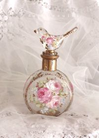 Shabby Romantic French Roses Bird Perfume Bottle