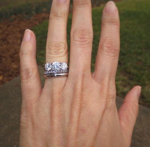 Threestone diamond ring with wedding bands  Celebrating