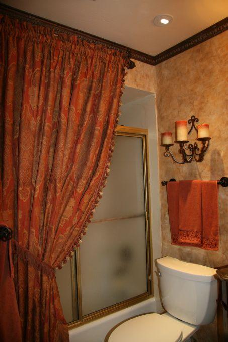 tuscany shower curtain  Old World styled bathroom