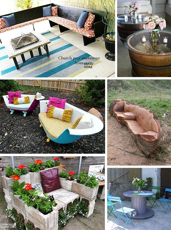 Collage Of Images Of Reclaimed & Repurposed Ideas For Outdoor