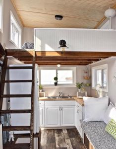 Kitchen layout and ladder to storage loft also tiny house pinterest rh