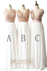 Rose Gold Sequins Top and Chiffon Bridesmaid Dress / Long ...