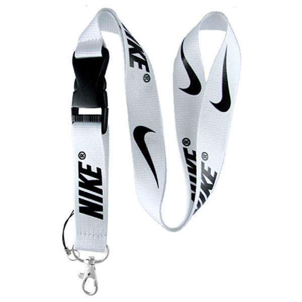 Nike Sports Neck Lanyard Keychain Holder Snap Buckle White