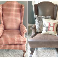 Reupholster A Chair With Leather Chicco Table Mounted High Diy Rustic Reupholstered Wing Back Rocker Rockers
