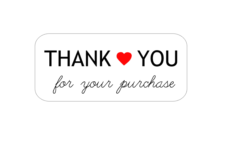 50 Thank You For Your Purchase Order Stickers Rectangle