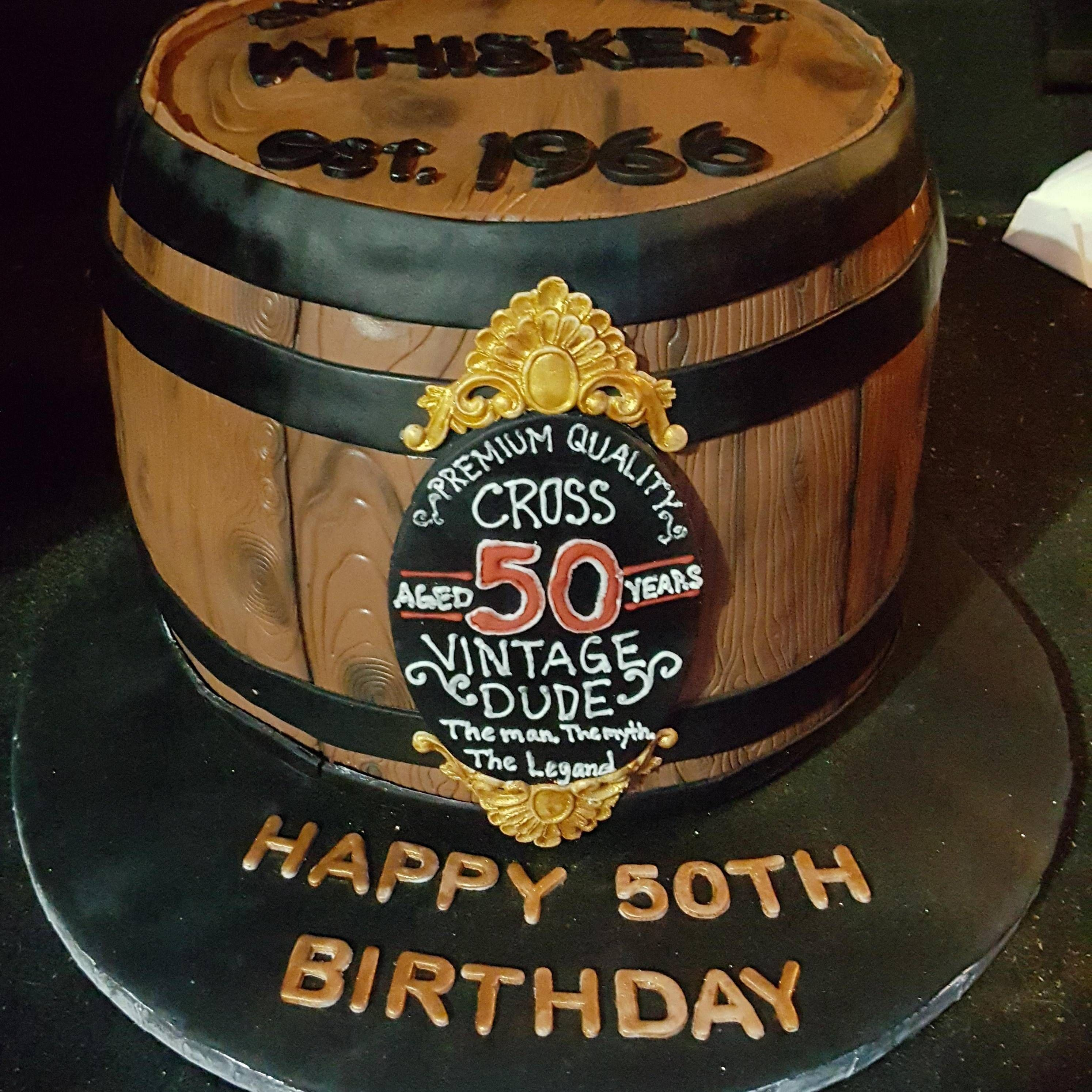 Homemade Whiskey Barrel Cake I Made For A Friend S 50th