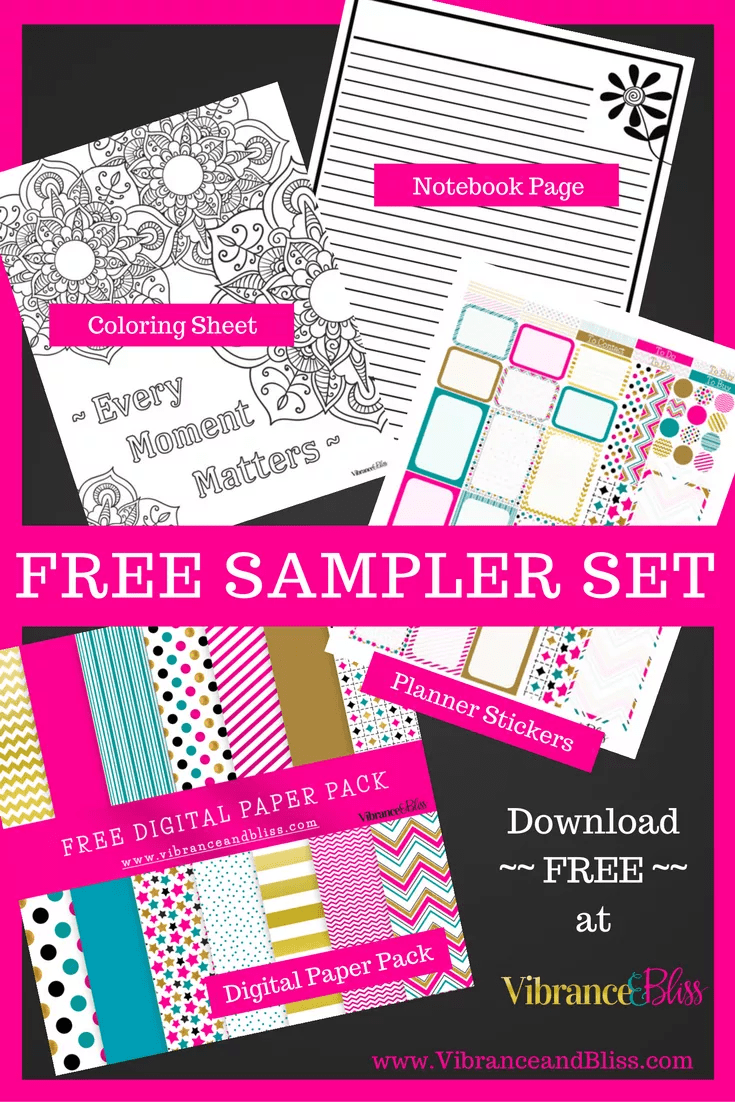 Free Planner Set Vibrance Bliss Digital Paper Coloring Page