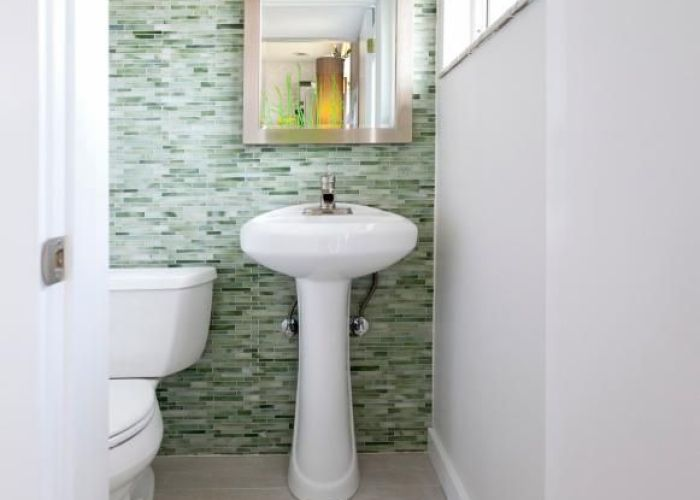 Contemporary white powder room with green glass tile also remodeling your small bathroom wallpaper rooms