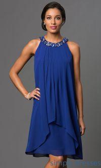 Short Royal Blue Pleated Shift Dress | Blue party dress ...