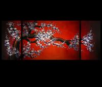 Canvas Wall Art Decor Cherry Blossom Painting Feng Shui ...