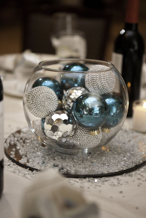 Glass Bowl With Ornaments Centerpiece Wedding