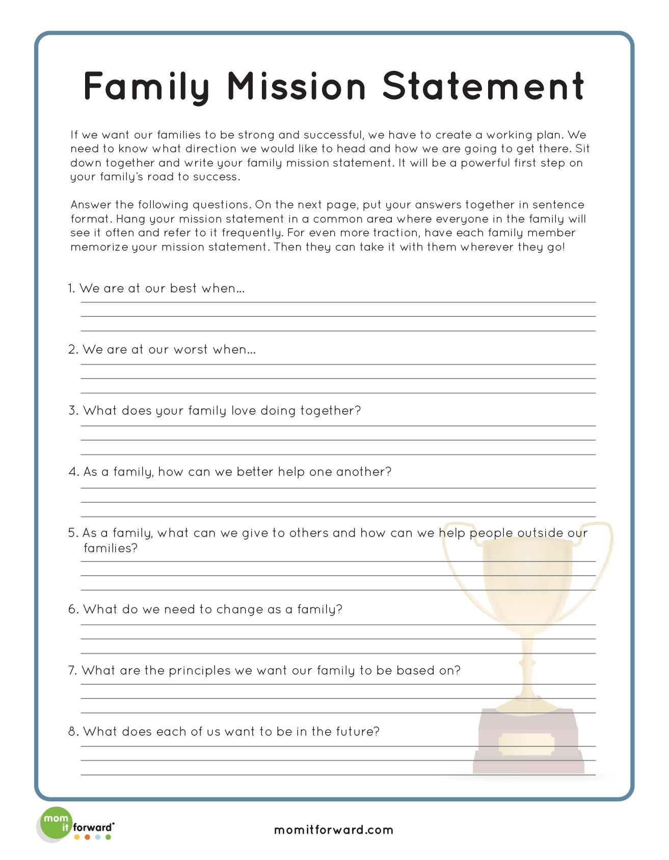 Family Mission Statement Writing Prompt Ideas