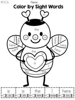 Valentine's Day Kindergarten Language Arts Worksheets