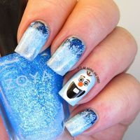 2014 Halloween glitter Olaf from Frozen nail design ...