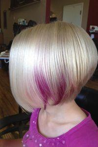 A line haircut, with a neat peekaboo colour | Hair ideas ...