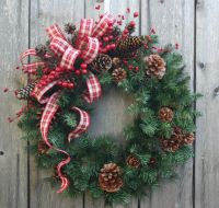 """Christmas Wreath""""Pinecones and Plaid""""Country Christmas ..."""