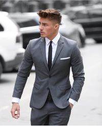 Men's Grey Suit, White Dress Shirt, Black Tie, White