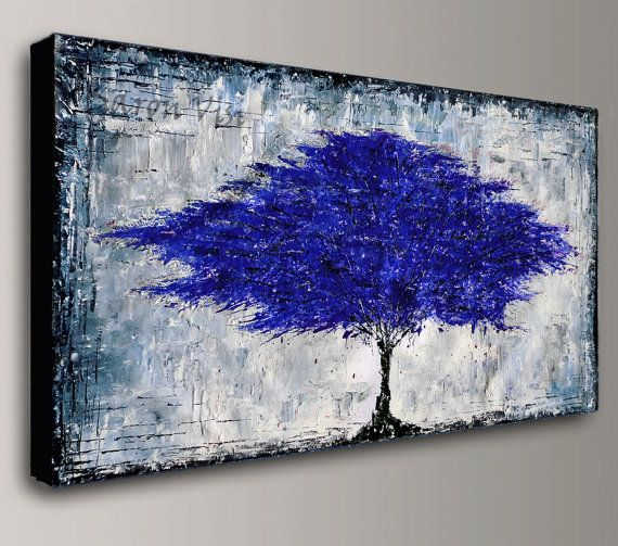 Blue grey art abstract painting acrylic oil large canvas wall home office decor textured impasto visi also rh pinterest