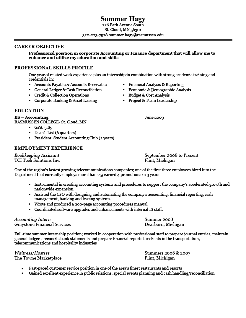 Good Resume Examples Good Sample 1 Larger Image Things To